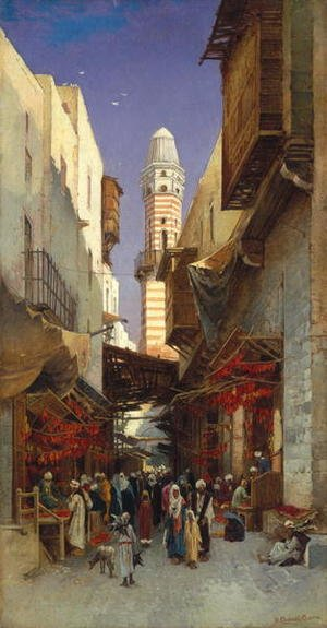 Reproduction oil paintings - Hermann David Solomon Corrodi - An Egyptian bazaar