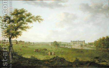 View of the Chateau de Chantilly from the Lawn, 1781 by Hendrik Frans de Cort - Reproduction Oil Painting