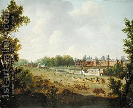 A View of the Royal Palace of Fontainebleau by Hendrik Frans de Cort - Reproduction Oil Painting
