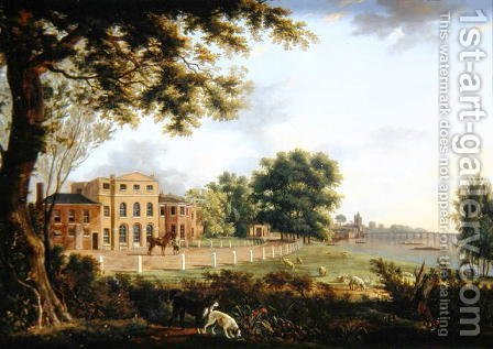 View of Chelsea Farm with the Thames and Battersea Bridge, 1790 by Hendrik Frans de Cort - Reproduction Oil Painting