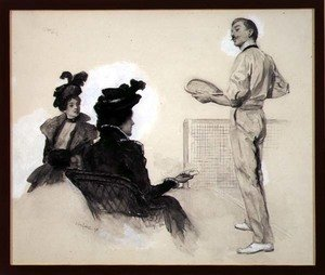 Famous paintings of Sport and Games: It was Out! Two Women Watching a Man Play Tennis, 1898