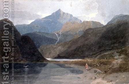 John Sell Cotman: Snowdon, North Wales - reproduction oil painting