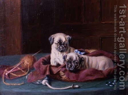 Pug Puppies in a Basket by Horatio Henry Couldery - Reproduction Oil Painting
