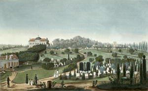 Famous paintings of Cemeteries: View of Pere Lachaise Cemetery from the Entrance, 1815