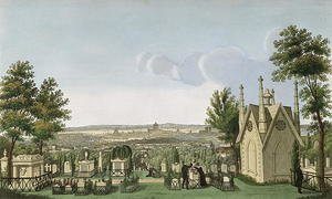 Famous paintings of Cemeteries: View of Pere-Lachaise Cemetery from the Gothic Chapel