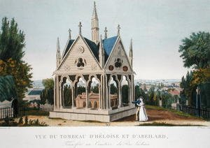 Famous paintings of Cemeteries: The Tomb of Heloise and Abelard in the Pere Lachaise Cemetery, 1815-20