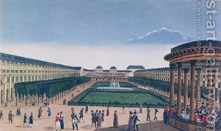 View of the Gardens of the Palais Royal, as seen from the Rotunda by Henri  (after) Courvoisier-Voisin - Reproduction Oil Painting