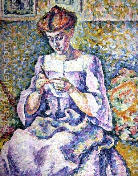 Lucie Cousturier: Woman Crocheting, 1908 - reproduction oil painting