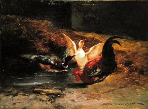 Famous paintings of Ducks: Cockerel with two ducks