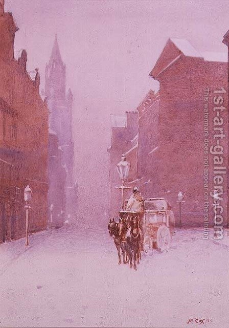 A winter street scene by A. Cox - Reproduction Oil Painting