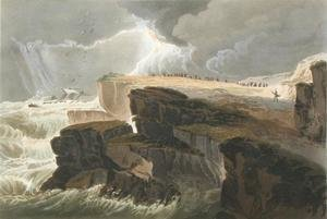 Plate from Book 10 Storm, View on the Coast of Hastings from A Treatise on Landscape Painting
