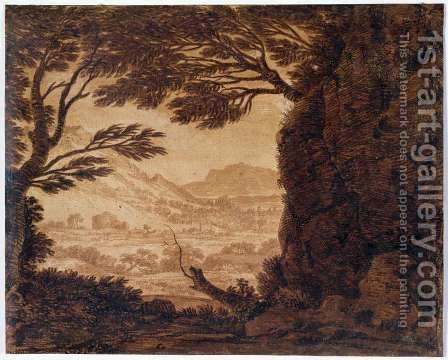 Classical Landscape, mid-18th century by Alexander Cozens - Reproduction Oil Painting