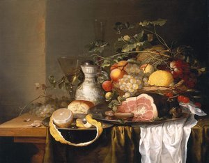 Famous paintings of Meat: Still life with a basket of fruit and a ham