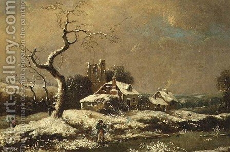 Snowy landscape by John Cranch - Reproduction Oil Painting