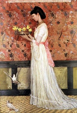 Reproduction oil paintings - Walter Crane - Portrait of Mrs Ingram Bywater, 1872