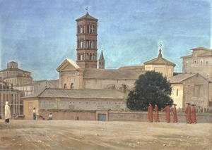 Reproduction oil paintings - Walter Crane - View of the Campanile of Santa Francesca Romana, Rome, 1873