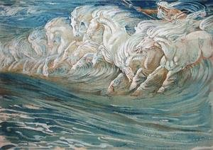 Famous paintings of Horses & Horse Riding: Neptune's Horses, illustration for The Greek Mythological Legend  1910