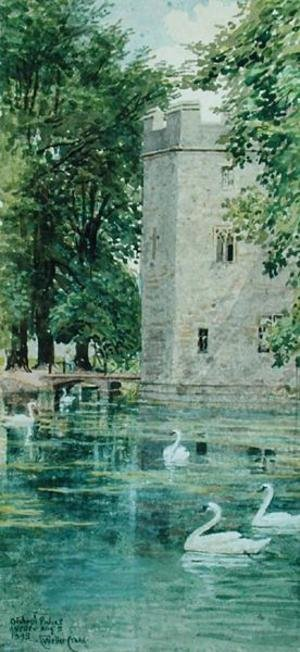 Reproduction oil paintings - Walter Crane - The Moat and Bishop's Palace, Wells Cathedral, 1893