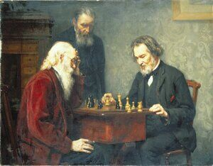 Famous paintings of Chess: The Veterans 1886