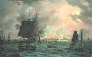 Reproduction oil paintings - Louis Philippe Crepin - The Bombing of Cadiz by the French on 23rd September 1823, 1824