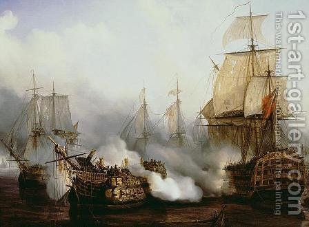 Louis Philippe Crepin: Battle of Trafalgar  1805 - reproduction oil painting