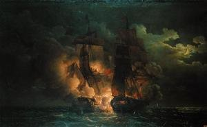 Famous paintings of Nautical: Battle Between the French Frigate Arethuse and the English Frigate Amelia in View of the Islands of Loz, 7th February 1813