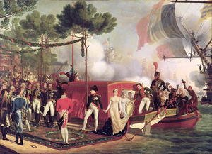 Louis Philippe Crepin reproductions - Napoleon I (1769-1821) and Marie Louise (1791-1847) Disembarking at Antwerp, 1810
