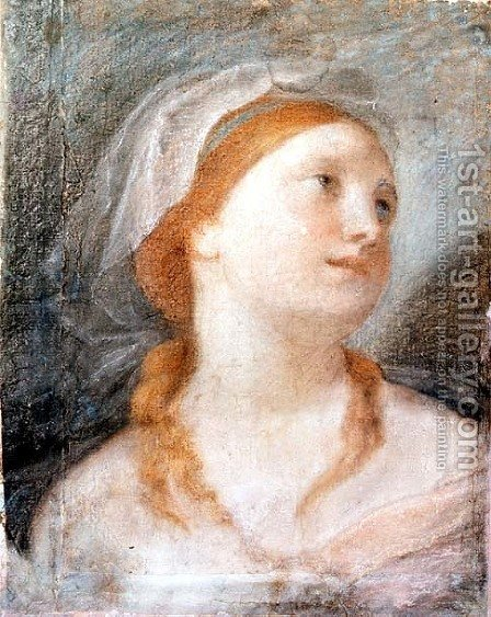 Study of the Head of a Young Woman with Red Hair by Giuseppe Maria Crespi - Reproduction Oil Painting