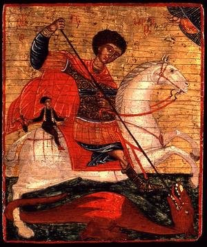 Medieval & Gothic Art painting reproductions: Icon of St. George and the Dragon