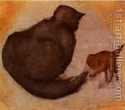 Cat and Kitten by Sir Edward Coley Burne-Jones - Reproduction Oil Painting