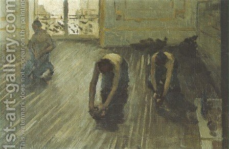 The Floor Scrapers (study) I by Gustave Caillebotte - Reproduction Oil Painting