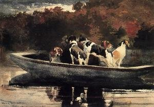 Famous paintings of Ships & Boats: Dogs in a Boat