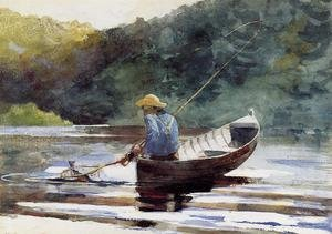 Famous paintings of Ships & Boats: Boy Fishing