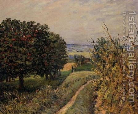 Among the Vines near Louveciennes by Alfred Sisley - Reproduction Oil Painting