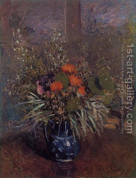 Bouquet of Flowers by Alfred Sisley - Reproduction Oil Painting