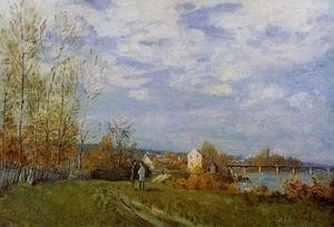 Famous paintings of Palisades: Banks of the Seine at Bougival