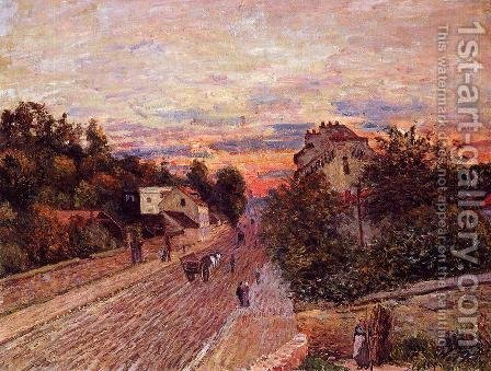 Alfred Sisley: Sunset at Port-Marly - reproduction oil painting