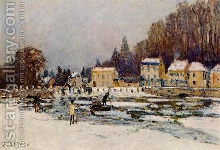 The Blocked Seine at Port-Marly by Alfred Sisley - Reproduction Oil Painting