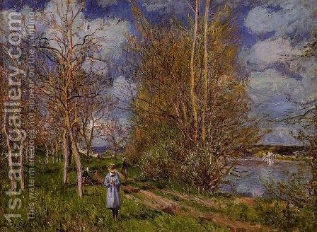 The Small Meadow In Spring - By by Alfred Sisley - Reproduction Oil Painting