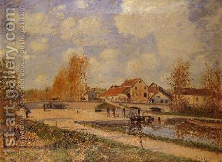 The Bourgogne Lock at Moret, Spring by Alfred Sisley - Reproduction Oil Painting