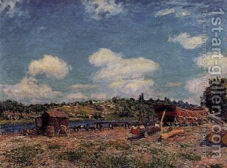 Boatyard at Saint-Mammes by Alfred Sisley - Reproduction Oil Painting