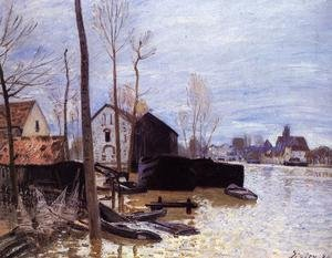 Famous paintings of Flood & High Tide: Flooding at Moret