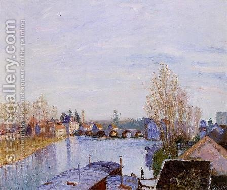 The Loing at Moret, the Laundry Boat by Alfred Sisley - Reproduction Oil Painting