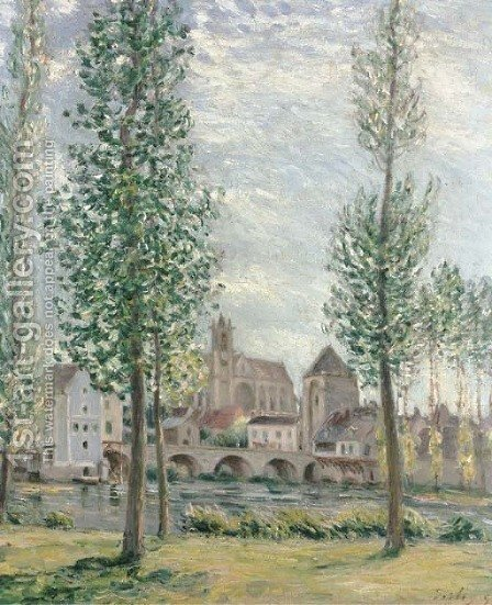 View of Moret-sur-Loing through the Trees by Alfred Sisley - Reproduction Oil Painting