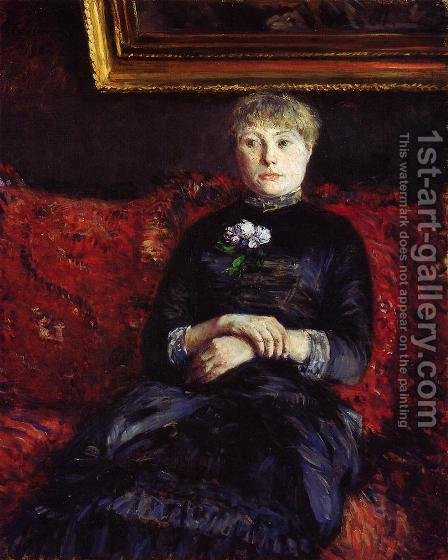 Woman Sitting on a Red-Flowered Sofa by Gustave Caillebotte - Reproduction Oil Painting