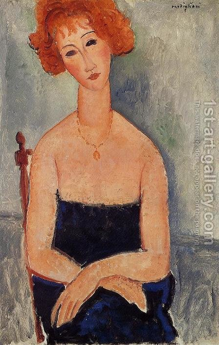 Readhead Wearing a Pendant by Amedeo Modigliani - Reproduction Oil Painting