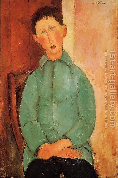 Boy in a Blue Shirt by Amedeo Modigliani - Reproduction Oil Painting
