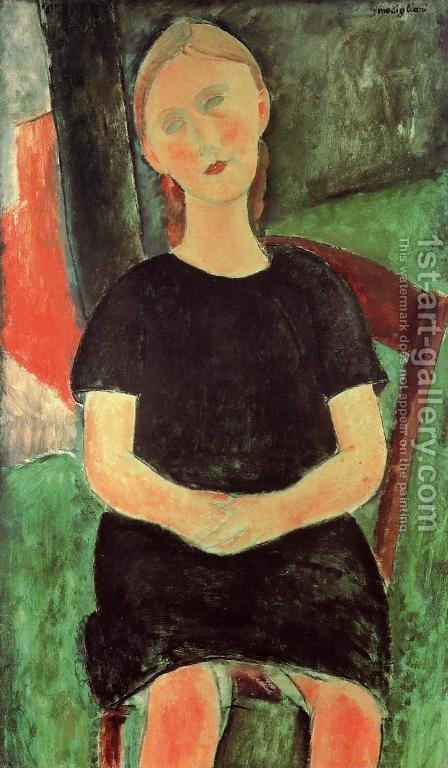 Seated Young Woman I by Amedeo Modigliani - Reproduction Oil Painting