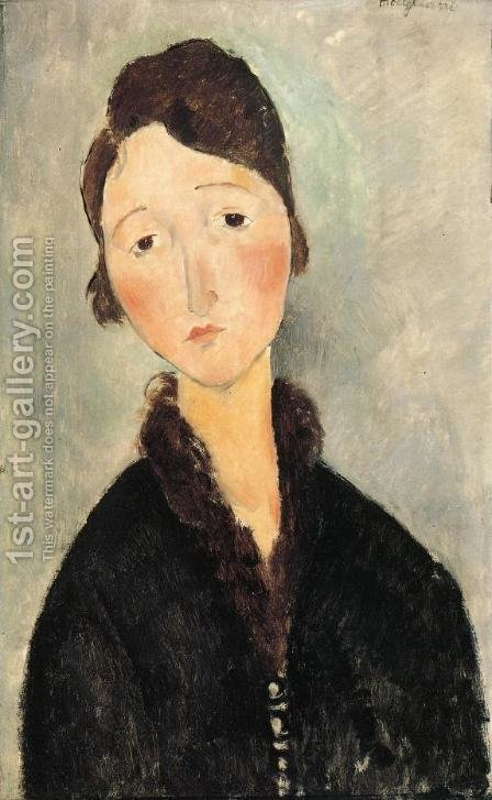 Portrait of a Young Woman by Amedeo Modigliani - Reproduction Oil Painting