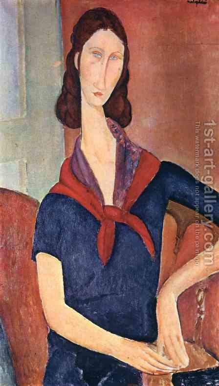 Jeanne Hebuterne in a Scarf by Amedeo Modigliani - Reproduction Oil Painting